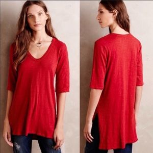 Anthropologie Left of Center red tunic top